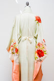 Vintage Light Green Silk Embroidered Kimono - One Size
