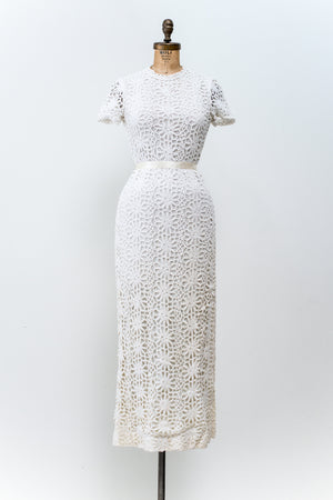 1960s Crochet Mod Lace Dress - M