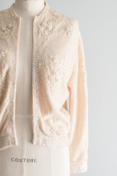 1950s Ivory Cashmere Cardigan - S/M