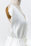 Vintage Ivory Satin Split Sleeve Robe - One Size