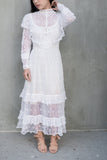 RESERVED 1970s Edwardian Inspired Macrame Dress - XS/S