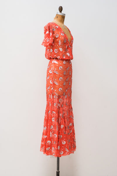 1980s Coral Beaded 2-Piece Dress - S/M