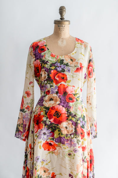 1970s Long Sleeves Floral Print Dress - M