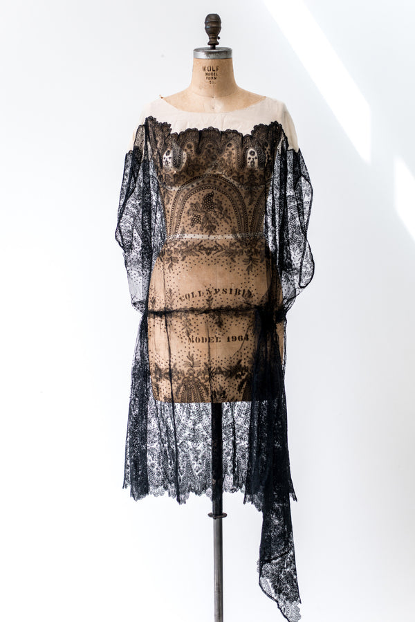 1920s Black Silk Lace and Chiffon Dress - M/L
