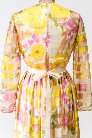 1960s Malcolm Starr Silk Printed Floral Dress - S/M