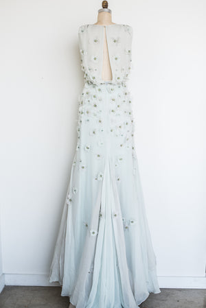 RENTAL Dennis Basso Silk Applique Gown - S/6
