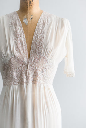 1930s Trained Silk Chiffon Dressing Gown - S/M