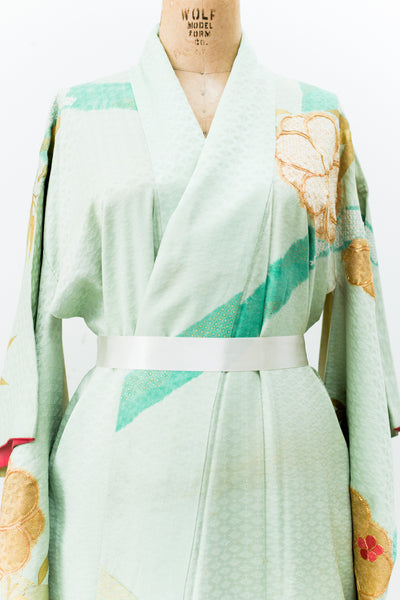 Vintage Green Kimono with Embroidered Gold Bamboo - One Size
