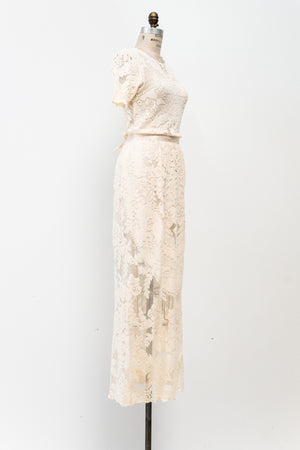 1970s Ivory Quaker Lace Dress - M