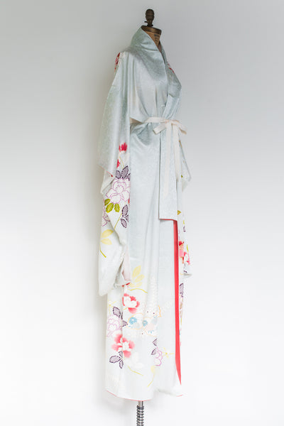 Vintage Light Blue Silk Kimono - One Size