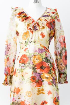 1970s Ruffled Neck Chiffon Floral Dress - S/M