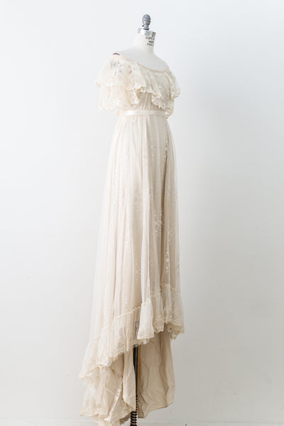 1970s Needle Lace Off the Shoulder Gown - S