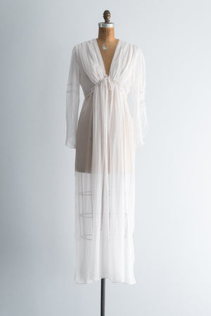 Vintage Light Pink Chiffon Robe - S/M