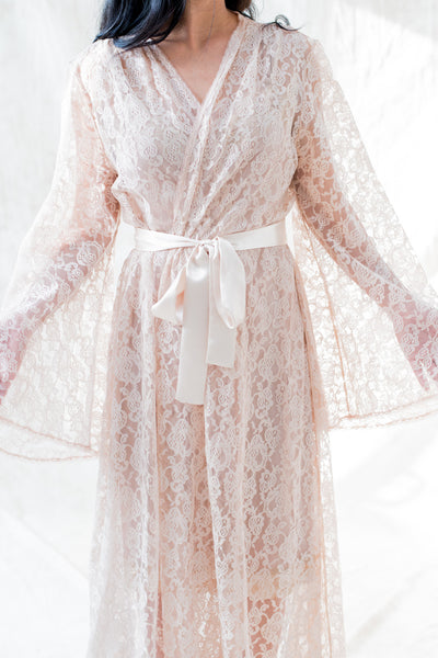 Vintage Ecru Lace Robe - One Size