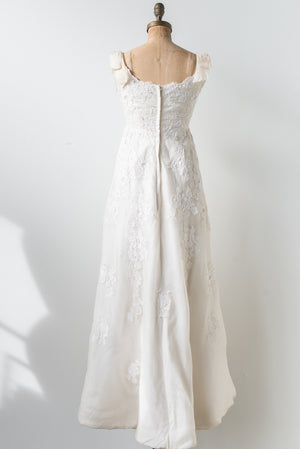 1960s Corded Lace and Silk Organza Gown - XS