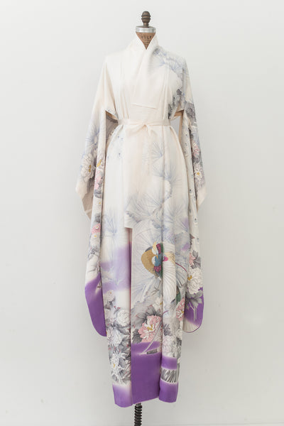 Vintage Purple and Ivory Kimono with Florals - One Size