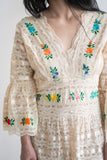 RESERVED 1970s Embroidered Lace Gown - M/L