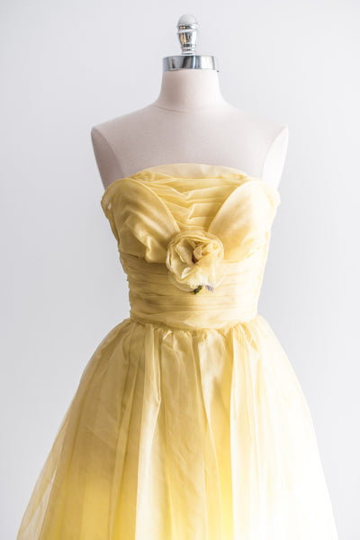 1950s Sunny Yellow Silk Organza Party Dress - XS