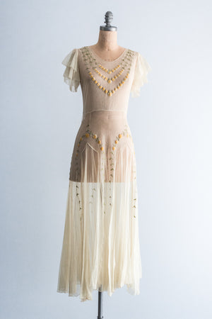 1930's Cream Embroidered Tulle Dress - S