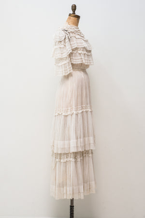 Edwardian Ruffled Dotted Lace Gown - XS