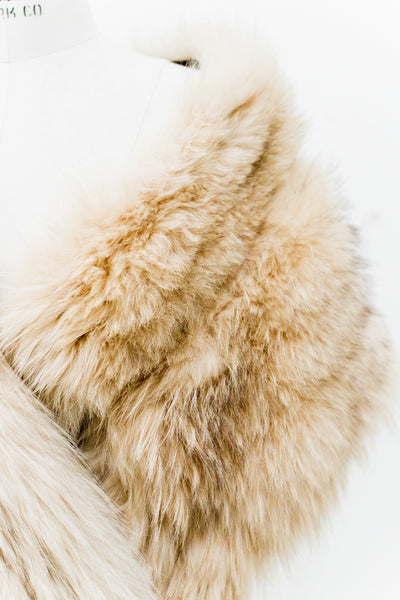 1950s Ivory Yellow Fox Fur Extra Long Stole