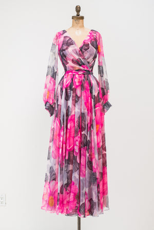 1970s Pink Chiffon Poet Sleeves Floral Dress - S/M
