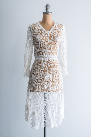1970's Lace Crochet Dress- S/M