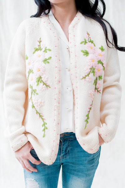 1950s Cream Floral Embroidered Cardigan - S/M