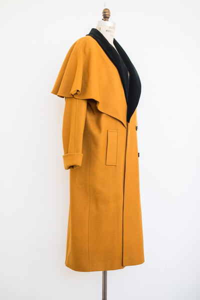 1950s Mustard Velvet Collar Wool Coat - M/L