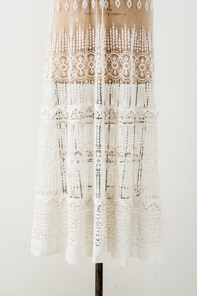 Edwardian Embroidered Tulle Lace Gown - S/M