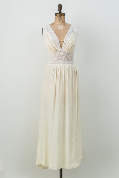 1930s Light Yellow Silk Lace Slip - S