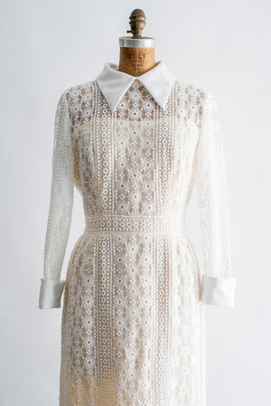 1960s Cream Crochet Lace Dress - M/L