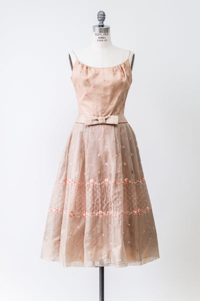 1950s Peach Silk Organza Embroidered Dress - S/M