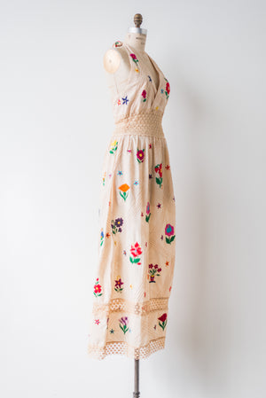1970s Ecru Embroidered Cotton Halter Dress - S