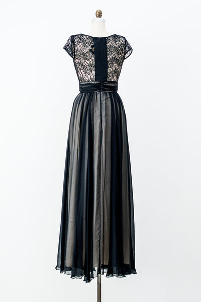 1980s Silk Embellished Gown - S