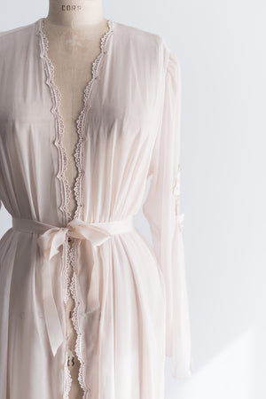 Vintage Mauve/Pink Sheer Chiffon Dressing Gown - One size