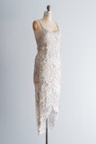 1980s Silk Chiffon Pearl and Bugle Beaded Dress - S/M