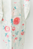 Vintage Blue Patterned Embroidered Kimono - One Size