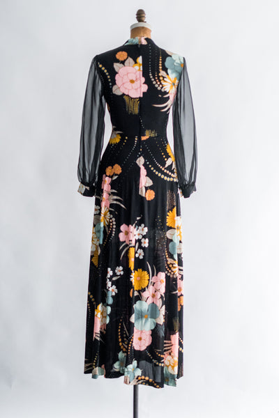 1970s Chiffon Sleeve Poly Floral Dress - S/M