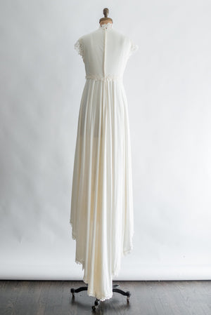 1970s Ivory Jersey and Embroidered Lace Gown - S/M