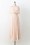1960s Shell Pink Chiffon Pleated Dress - S