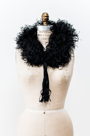 Antique Curled Ostrich Feather Collar with Tassels