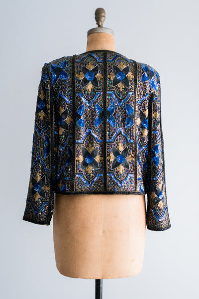 1980's Onyx Gold and Sapphire Sequined Jacket - M/L