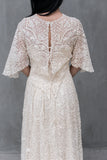Antique Point De Gaz Bobbin Lace Gown - S