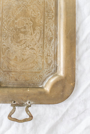 Antique Retangular Brass Tray