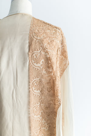 1920s Silk Satin and Lace Robe - S/M