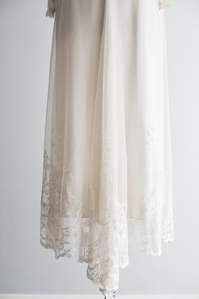 1980s Tulle Lace Long Sleeves Gown - M/L