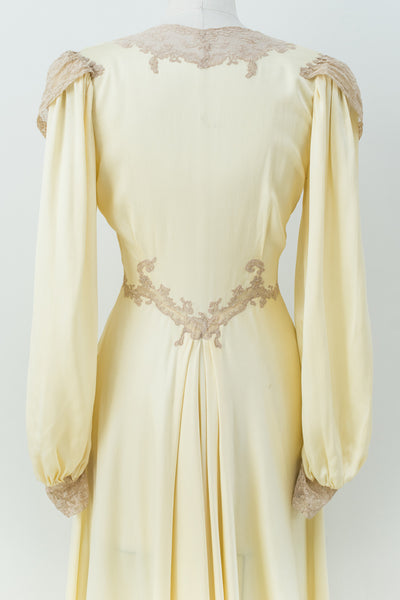 1930s rare yellow silk dressing gown