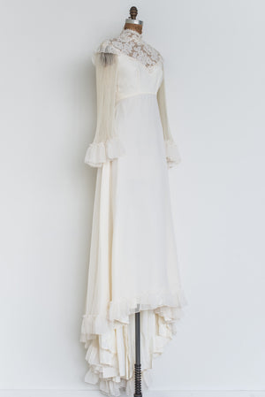 1970s Chiffon and Lace Pleated Gown - S