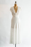 Vintage Embroidered Slip Gown - S/M